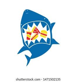 Cool cartoon shark vector design, eating junk food on white background