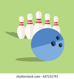 cool cartoon simple clean bowling game print. many isolated modern clean flat design style Bowling pin icon set & one big ball illustration. play it for business & sport with shadow