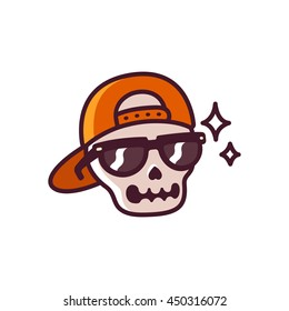 Cool cartoon skull with sunglasses and backwards cap, funny simple comic style illustration.