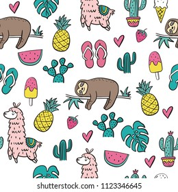 Cool cartoon summer print with sloth. Seamless Pattern