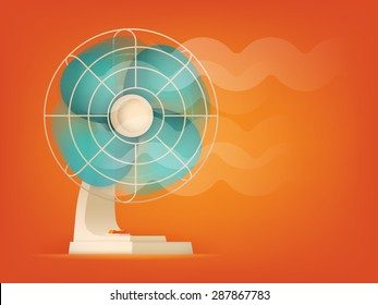 Cool cartoon vector ventilator fan blowing illustration on red orange background. Table cooling fan working