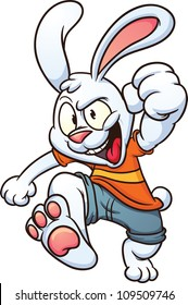 Cool cartoon white rabbit. Vector illustration with simple gradients. All in a single layer.