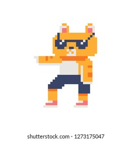 Cool cat character in sunglasses pixel art style. Stickers and embroidery design. Isolated vector illustration. 80s style.