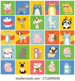 Cool cats, mouses, pigs and dogs. Vector trendy hipster style greeting cards design, t-shirt print, inspiration poster.