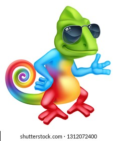 A cool chameleon lizard cartoon character in shades or sunglasses pointing their finger at something