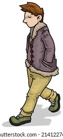 Cool chilled young boy walking, vector illustration