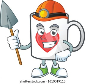 Cool clever Miner cup of coffee with heart cartoon character design