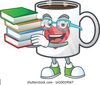 Cool and clever Student cup of coffee with heart mascot cartoon with book