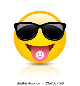 Cool clubber emoji vector cartoon on white background