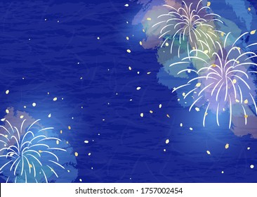Cool colored fireworks background illustrations and Japanese paper textures.