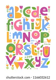 Cool colored vector ABC poster. Kids room decoration.