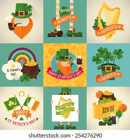 Cool colorful vector Saint Patrick's day design items. Ideal for your party invitations, greeting cards and posters. Featuring leprechaun's pot of gold, green hat and golden harp