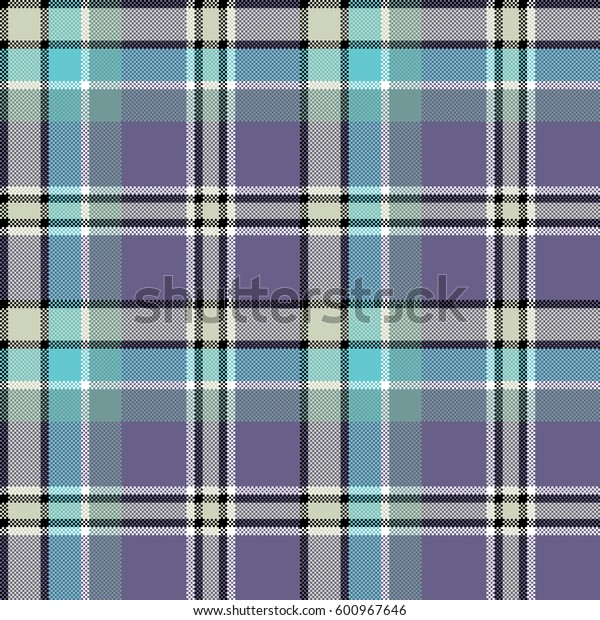 Cool colors fabric texture square pixel seamless pattern. Vector illustration.