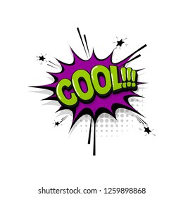 Cool comic text collection sound effects pop art style. Set vector speech bubble with word and short phrase cartoon expression illustration. Comics book colored background template.