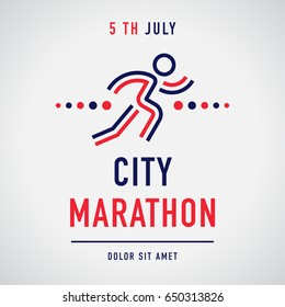 Cool concept for city marathon announcement, advertisement, poster or logo. Running character with the business text. Vector design.