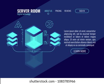 Cool concept of digital technology, server room, data center and database cion, bigdata processing rpocess dark neon isometric vector