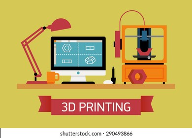 Cool concept illustration on 3D printing, trendy flat design | Innovative fabrication process background with modeling desktop equipment computer, 3D printer and sample object