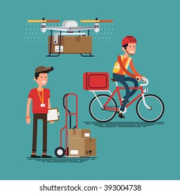 Cool courier characters workers people with equipment, bicycle with container, cart with cardboard boxes, delivery drone multicopter robot. Shipping, logistics service in business and industry