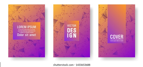 Cool cover layout design. Global network connection polygonal grid. Interlinked nodes, molecular or social media, web structure concept. Information technology concept cover.