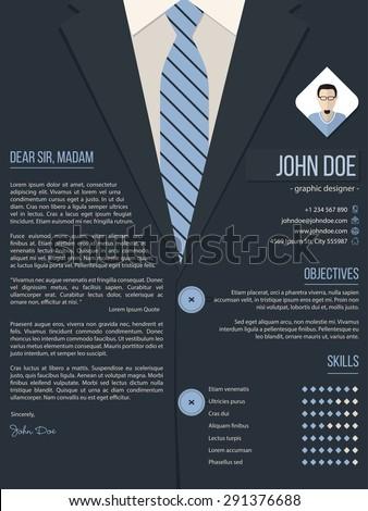 Cool Cover Letter Resume Cv Template Image Vectorielle De Stock
