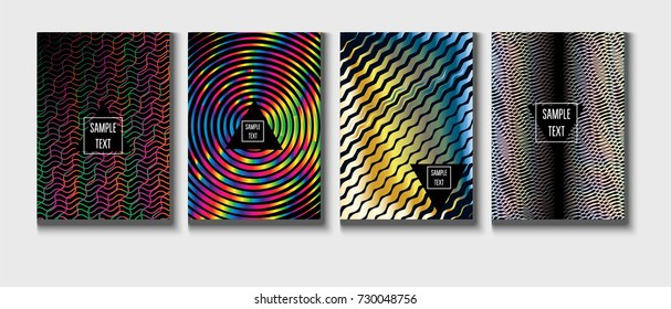 Cool Covers Set. Fluid Vector Iridescent Gradient Glam Background. Rainbow Colored Holographic A4 Minimal Covers Set. Neon Colored Futuristic Grid Music Poster. Funky New Year, Celebration Backgrounds