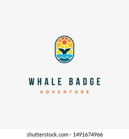 cool and creative whale badge with whale tail or fin, sun, dusk sky, and sea or ocean logo design inspiration. Suitable for outdoor adventure logo
