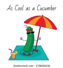 A cool cucumber is relaxing. The illustration means an English idiom: a very calm man.