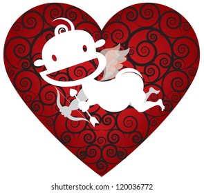Cool Cupid. A cute cupid in silhouette against a heart background with cool swirls. Perfect for you next Valentine�s Day project.