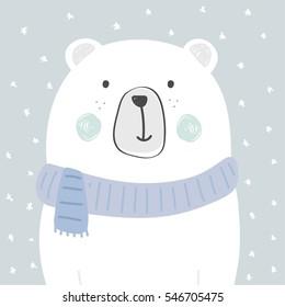cool and cute polar bear illustration