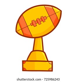 Cool and cute rugby trophy for winners - vector.