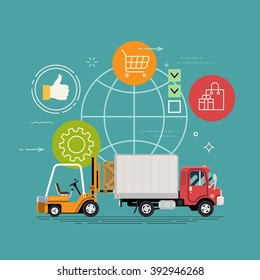 Cool delivery service concept background. Logistics in business and industry. Local supply chain. Merchant shipping vector illustration with small cargo delivery truck and forklift loading container