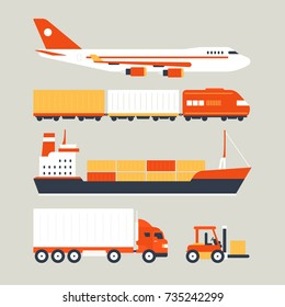 Cool delivery service concept with different transport objects: air, ship, sea, car, vehicle. Logistics in business and industry. Local supply chain. Merchant shipping vector illustration