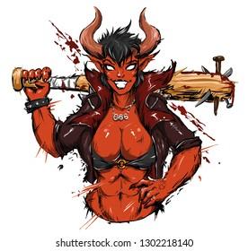 cool demon girl beautiful with baseball bat sexy vector illustration print