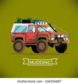 Cool detailed flat design off road truck covered in mud. 'Mudding' concept illustration with 4WD SUV equipped expedition car