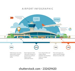 Cool detailed flat vector airport with infographic elements templates. Different transport types in front of the main terminal. EPS10 vector illustration.