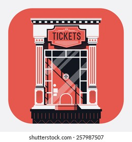 Cool detailed retro style cinema movie theater tickets booth window web or application rounded corners icon. Motion picture box office concept design