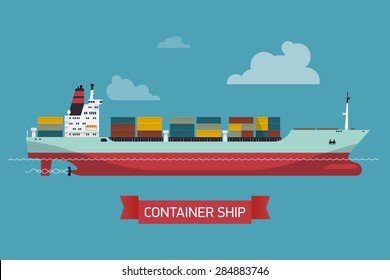 Cool detailed vector design element on seagoing freight transport with loaded container ship   Modern global cargo shipping background. Ideal for web site or social media network cover profile image