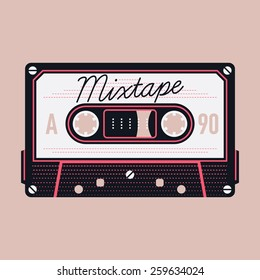 Cool detailed vector mixtape illustration with retro analogue compact audio cassette tape isolated | Magnetic tape compact format record