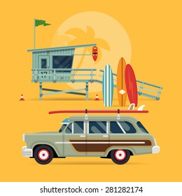 Cool detailed vector modern flat web banner design on surfing, best summer vacation, beach recreation, water activities for travel agency promotion with woody surf car, surfboards and lifeguard tower