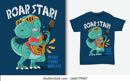 Cool dinosaur rock star illustration with t-shirt design, Hand drawn