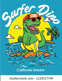 Cool dinosaur surfing vector design