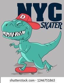 Cool dinosaur vector design for t shirt printing