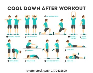 Cool down after workout exercise set. Collection of stretching poses. Improving muscles flexibility. Physical movements. Isolated vector illustration in cartoon style