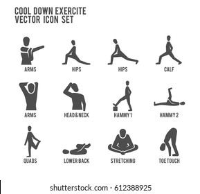 Cool Down Warm Up Exercise Stretching Workout Fitness Vector Icon Set. Included the icons as stretching, toe touch, quads, hammy, calf, arms and more.