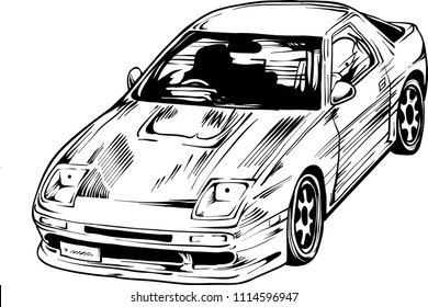 Cool drifting car made in manga style as a vector illustration.