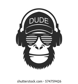 Cool dude monkey with glasses and headphones