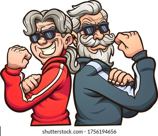 Cool elderly power couple wearing sunglasses. Vector clip art illustration with simple gradiensts. Each on a separate layer.