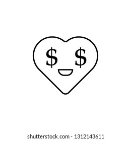 cool emoji greed icon. Element of heart emoji for mobile concept and web apps illustration. Thin line icon for website design and development, app development