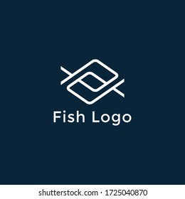 Cool fish line logo, Simple and cool fish logo template vector