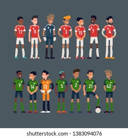 Cool flat character design on two rival soccer teams ready for a game. Football team players lineup, isolated